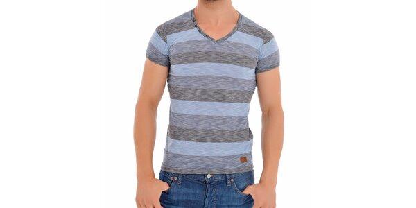 Pánske modro-šedé pruhované tričko Wessi