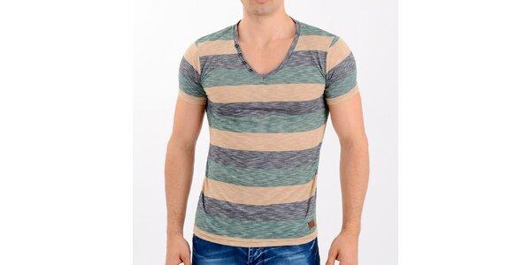 Pánske zeleno-šedé pruhované tričko Wessi