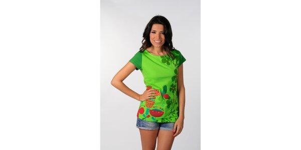 Dámske sýto zelené tričko s potiskom Avispada