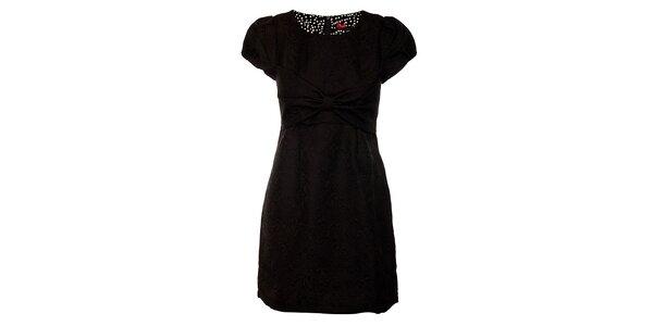 Dámske čierne brokátové šaty s veľkou mašľou