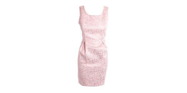 """Dámske ružové """"brokátové"""" šaty Yumi"""