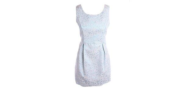 """Dámske modré """"brokátové"""" šaty Yumi"""