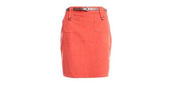 Dámska oranžová púzdrová sukňa do pásu Yumi