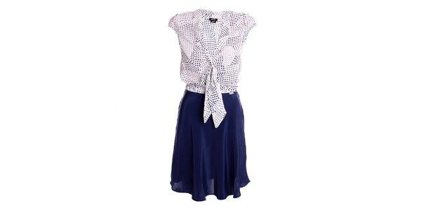 Dámske modro-biele šaty s viazačkou Miss Sixty