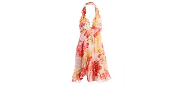 Dámske letné šaty s ružovým vzorom Miss Sixty