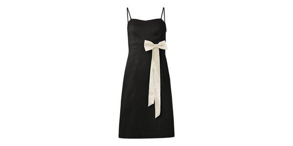 Dámske čierne šaty s krémovou mašľou Fever