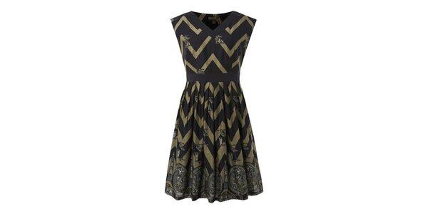 Dámske tmavo-béžové úzké šaty s egyptskými vzormi Fever