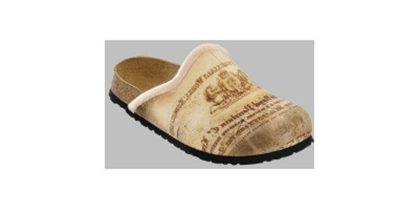 Béžové vintage papuče Papillio