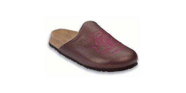 Dámske fialové metalické papuče s gulatou špičkou Papillio
