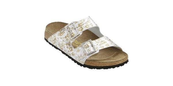Dámske strieborné papuče so zlatými kvetinami Papillio