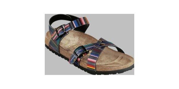 Dámske farebné pruhované sandále Papillio