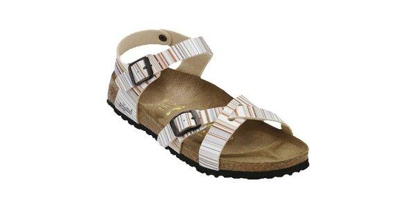 Dámske pastelové pruhované sandále Papillio