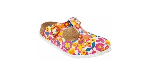 Dámske biele papuče s kvetinami Papillio