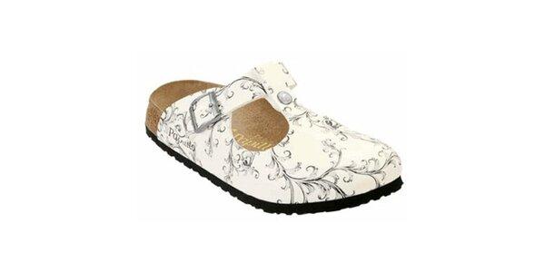 Dámske biele papuče s šedými kvetinami Papillio
