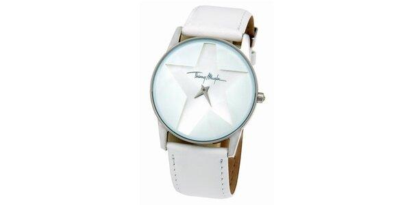 Dámske biele oceľové hodinky s koženým remienkom Thierry Mugler