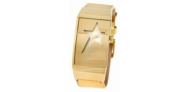Dámske zlaté oceľové hodinky Thierry Mugler s ciferníkom v tvare hviezdy