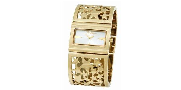 Dámske zlaté oceľové náramkové hodinky s hviezdičkami Thierry Mugler