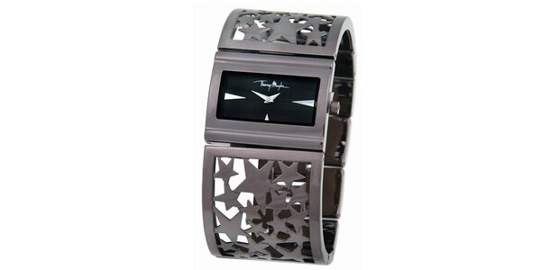 Dámske strieborné oceľové náramkové hodinky s hviezdičkami Thierry Mugler