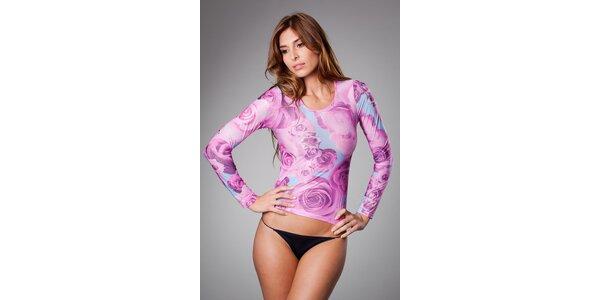Dámske ružové tričko Roberto Cavalli s potlačou
