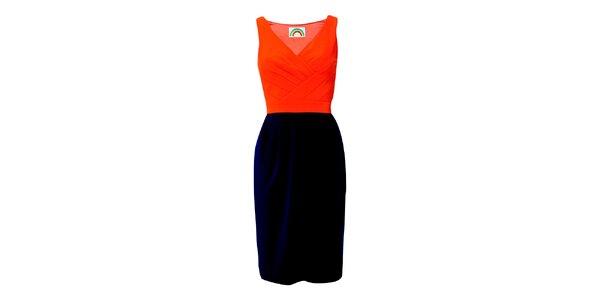 Dámske oranžovo-modré púzdrové šaty Fever