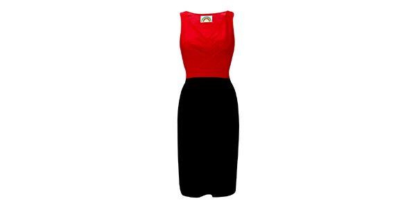 Dámske červeno-čierne púzdrové šaty Fever