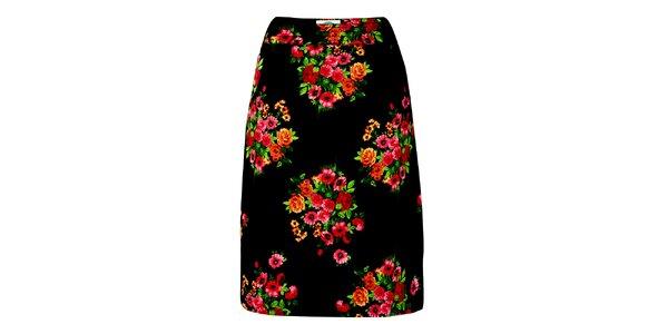 Dámska čierna sukňa s kvetinovým potiskom Fever
