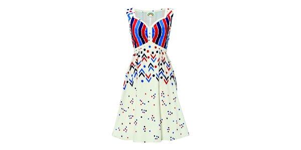 Dámske biele šaty s tetris detailmi Fever