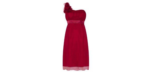 Dámske vínovo červené party šaty na jedno rameno Fever
