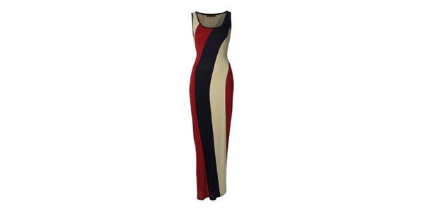 Dámske dlhé červeno-modro-krémové šaty Fever