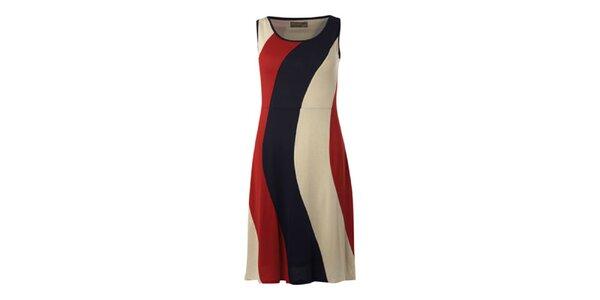 Dámske krátké červeno-modro-krémové šaty Fever