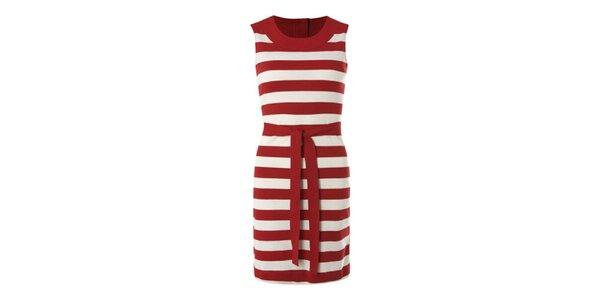 Dámske červeno-biele pruhované šaty Fever