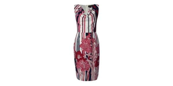 Dámske pruhované šaty s potiskom kvetín Fever