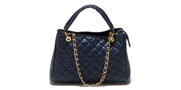 Dámska tmavo modrá prešívaná kabelka Sonia Ricci so zlatým retiazkou