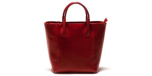 Dámska červená kožená kabelka Sonia Ricci