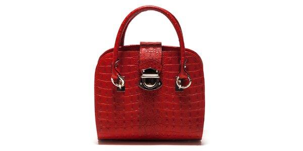 Dámska červená krokodýlia kabelka Sonia Ricci