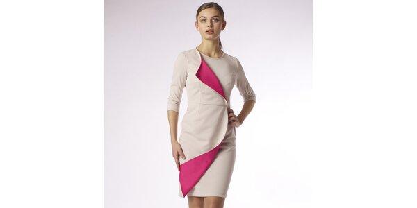 Dámske béžové zavinovacie šaty s fuchsiovým lemom Emploi