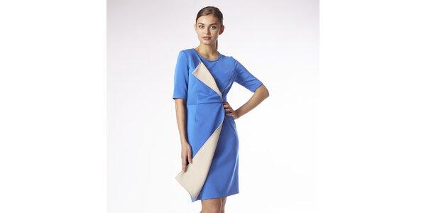 Dámske blankytno modré zavinovacie šaty s béžovým lemom Emploi