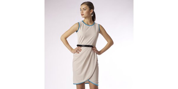 Dámske béžové zavinovacie šaty s tyrkysovým lemom Emploi
