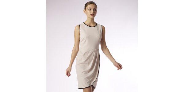 Dámske béžové zavinovacie šaty s čiernym lemom Emploi