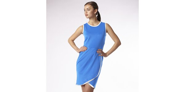 Dámske modré zavinovacie šaty s bielym lemom Emploi