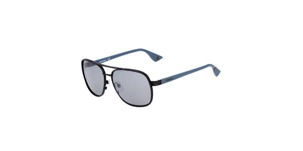 Pánske čierne slnečné okuliare s modrými stranicami Diesel