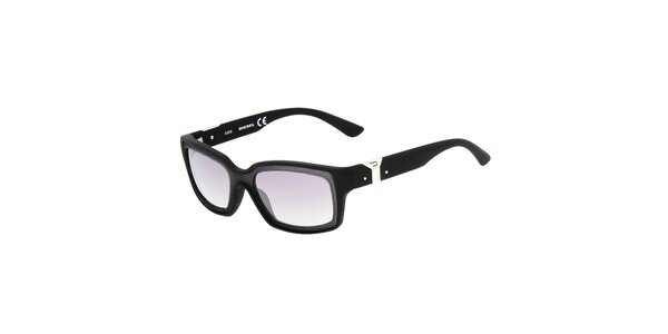 Čierne hranaté unisex slnečné okuliare Diesel