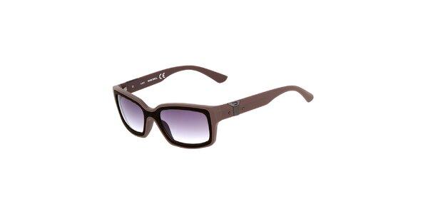 Hnědé hranaté unisex slnečné okuliare Diesel