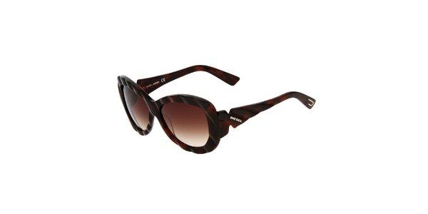 Dámske tmavo hnedé slnečné okuliare Diesel