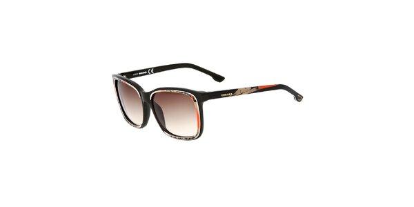 Dámske čierne slnečné okuliare Diesel s potiskom