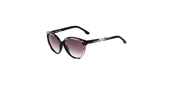 Dámske čierne slnečné okuliare s ružovým potiskom Diesel