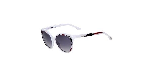 Dámske biele slnečné okuliare Diesel s farebným potiskom