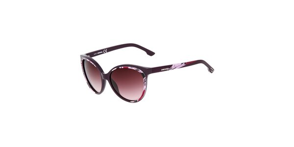 Dámske fialové slnečné okuliare s potiskom Diesel