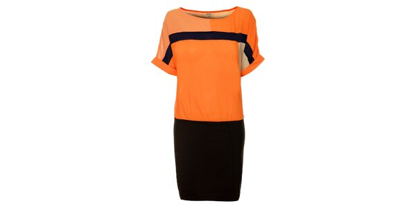 Dámske oranžovo-čierne šaty Lucy Paris