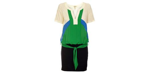 Dámske zeleno-čierne šaty Lucy Paris s modrými a béžovými detailmi